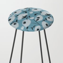 Cotton Flowers on Blue Pattern Counter Stool