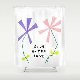 Flower Kindness Minimalist Illustration Give Extra Love Shower Curtain