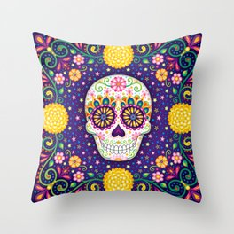 Sugar Skull with Flowers - Art by Thaneeya McArdle Throw Pillow