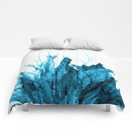 Turquoise wildflowers II Comforters