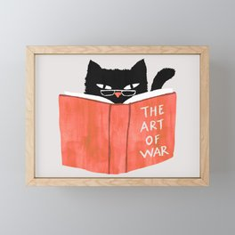 Cat reading book Framed Mini Art Print