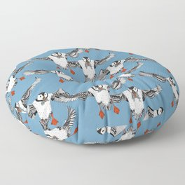 Atlantic Puffins blue Floor Pillow