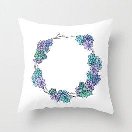 Succulent Wreath Throw Pillow