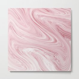 Soft Bubblegum Pink Marble Pattern Metal Print