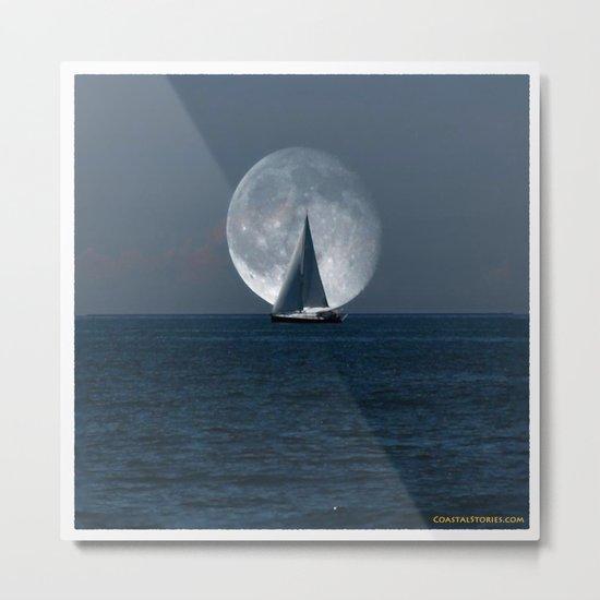 Full Moon Sailing Metal Print