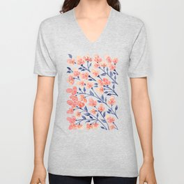 Cherry Blossoms – Peach & Navy Palette Unisex V-Neck