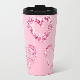 Light Red Pink LOVE Glitter Hearts #1 #shiny #decor #art #society6 Travel Mug