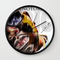 notorious big Wall Clocks featuring Notorious BIG by Jamaal lamaaj studio.