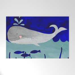 whale in the ocean watercolor illustration Welcome Mat