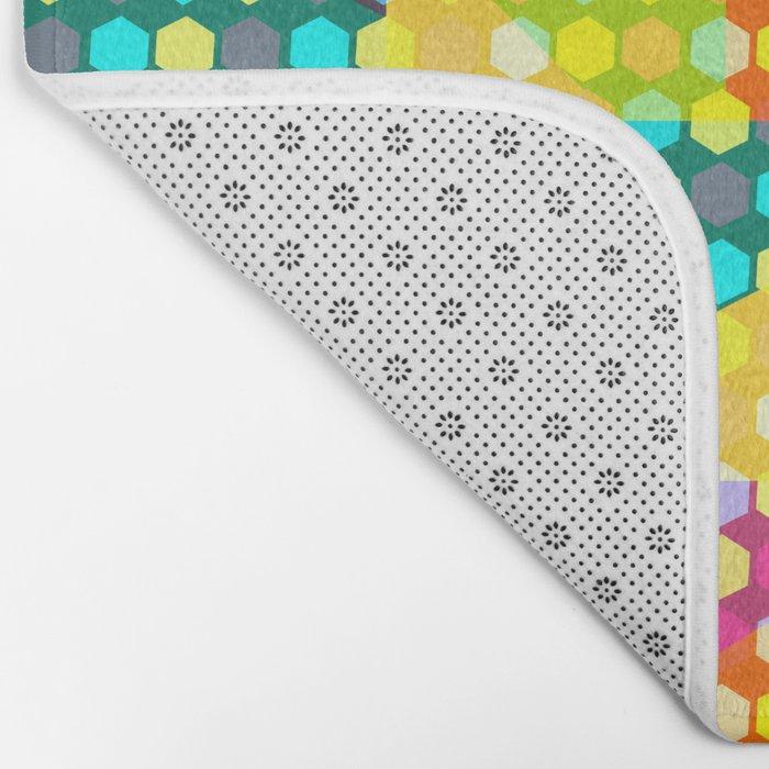 Colorful hexagons Bath Mat