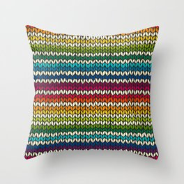 Rainbow knitted stripes Throw Pillow