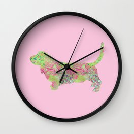 Bassett Hound Vintage Floral Pattern Pink Green Mint Shabby Chic Wall Clock