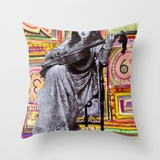 Guitarist in Time Throw Pillow