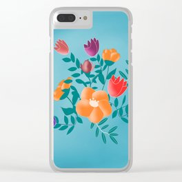 Classic floral with blue background Clear iPhone Case