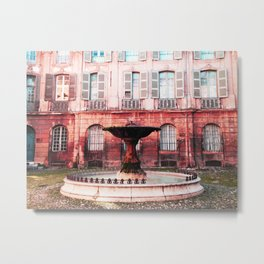 Aix en Provence Fountain Metal Print