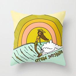 spread sunshine lady slide rainbow surf Throw Pillow