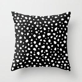 Black Dalmatian Print Throw Pillow