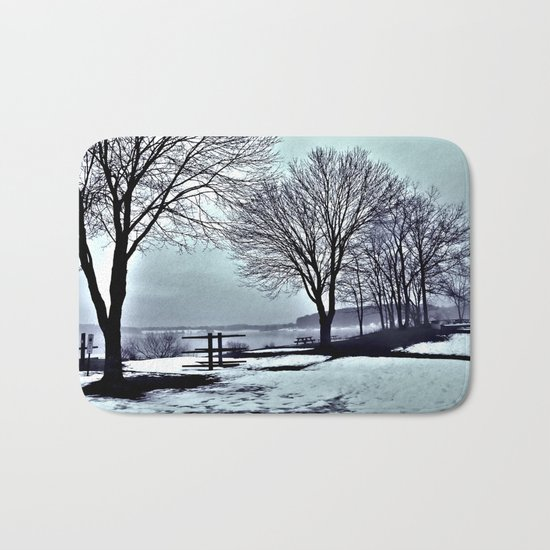 Winter Trees by the Lake Bath Mat