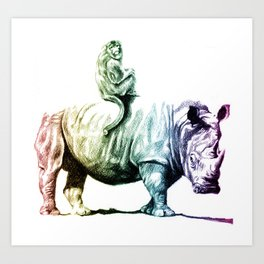 Golden Monkey on a Rainbow Rhino by Aaron Bir Art Print