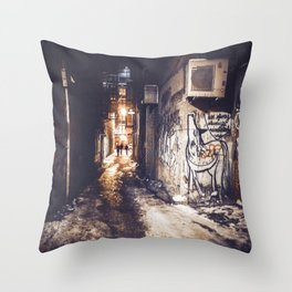 Lower East Side - Midnight Warmth on a Snowy Night Throw Pillow