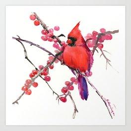 Red Cardinal and Berries, Christmas Red design Christmas Decor Gift Art Print