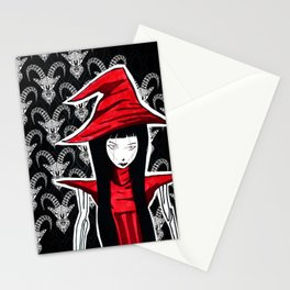 Red WITCH Doll ecopop Stationery Cards