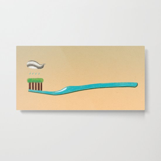 toothbrush  clouds Metal Print