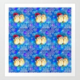 Snowflake Owls Art Print