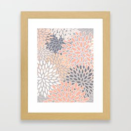 Flowers Abstract Print, Coral, Peach, Gray Framed Art Print