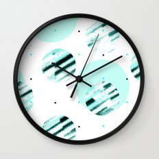 my polka dots / black & aqua Wall Clock
