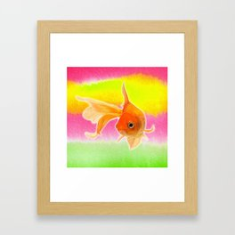 Goldfish & Colorful Watercolor Abstract Framed Art Print