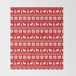 French Bulldog Silhouettes Christmas Sweater Pattern Throw Blanket