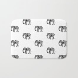 Elephant Flourish in Black Bath Mat