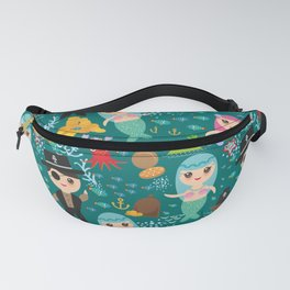 Mermaid with pirate, dark blue sea background Fanny Pack
