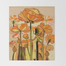 70s, Orange California poppies, mid century, 70s retro, flowers Throw Blanket