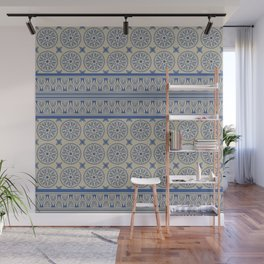 African Ethnic Tribal Beige and Blue Pattern Wall Mural