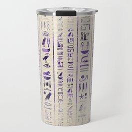 Amethyst Egyptian hieroglyphics on canvas Travel Mug