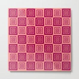 Mid Century Modern Geometric Checker 821 Raspberry and Coral Metal Print