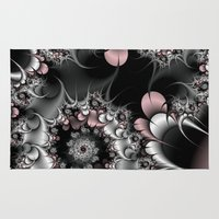 novelty Area & Throw Rugs featuring Widow's Web Fractal by Moody Muse