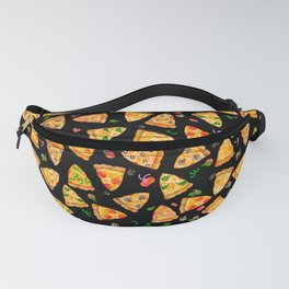 Watercolor Pizza Pattern Fast Food On Black Fanny Pack