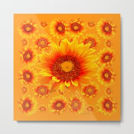 Decorative Golden Sunflowers Abstracted Floral Art Metal Print