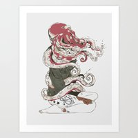 huebucket Art Prints featuring My head is an octopus by Huebucket
