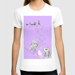 Two Tailed Duck and Jellyfish Purple Grape T-shirt