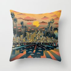 los angeles city skyline Throw Pillow