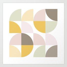 Mid Century Geometric Pattern 1 - Pastel Nature Art Print
