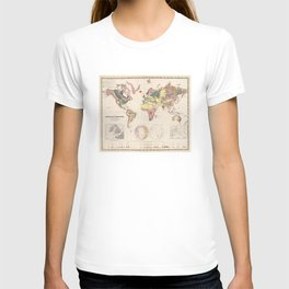 Vintage Geological Map of The World (1856) T-shirt
