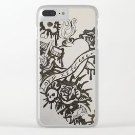 Skull heart sword Clear iPhone Case