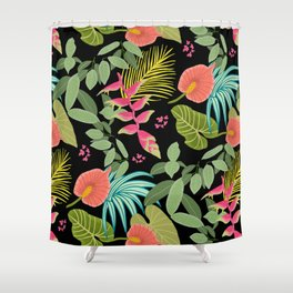 Exotic Garden Tropical Illustration, Floral, Bright and Colourful Caribbean Style Shower Curtain