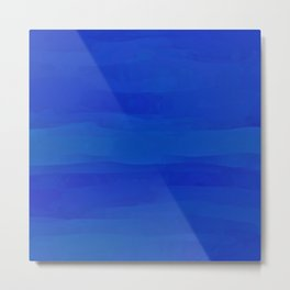 Subtle Cobalt Blue Waves Pattern Ombre Gradient Metal Print