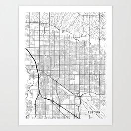 Tucson Map, Arizona USA - Black & White Portrait Art Print